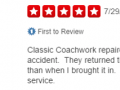 Yelp Review 1-Classic Coachwork Fort Washington Auto Body